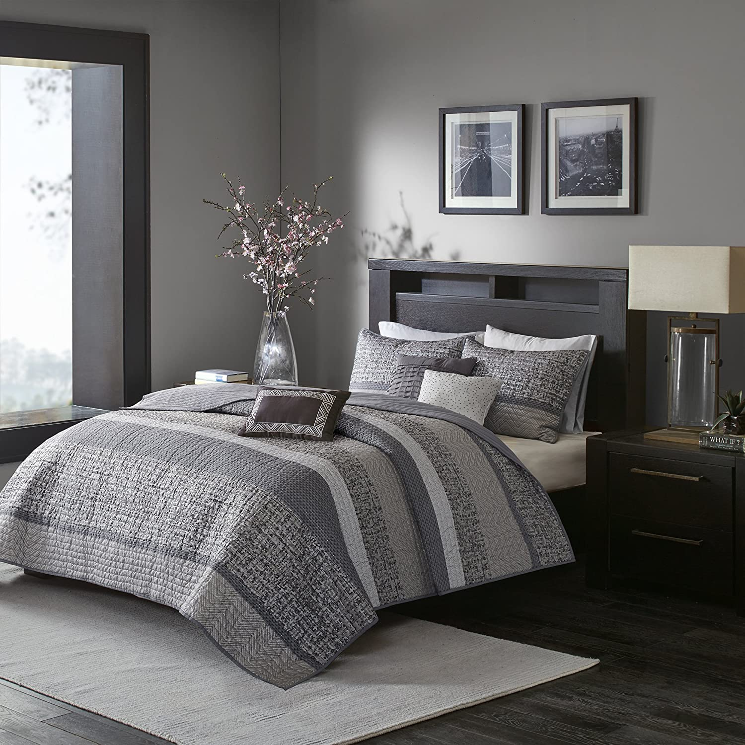 Madison Park Rhapsody Full/Queen Size Quilt Bedding Set - Grey, Striped – 6 Piece Bedding Quilt Coverlets – Ultra Soft Microfiber Bed Quilts Quilted Coverlet MP13-3399