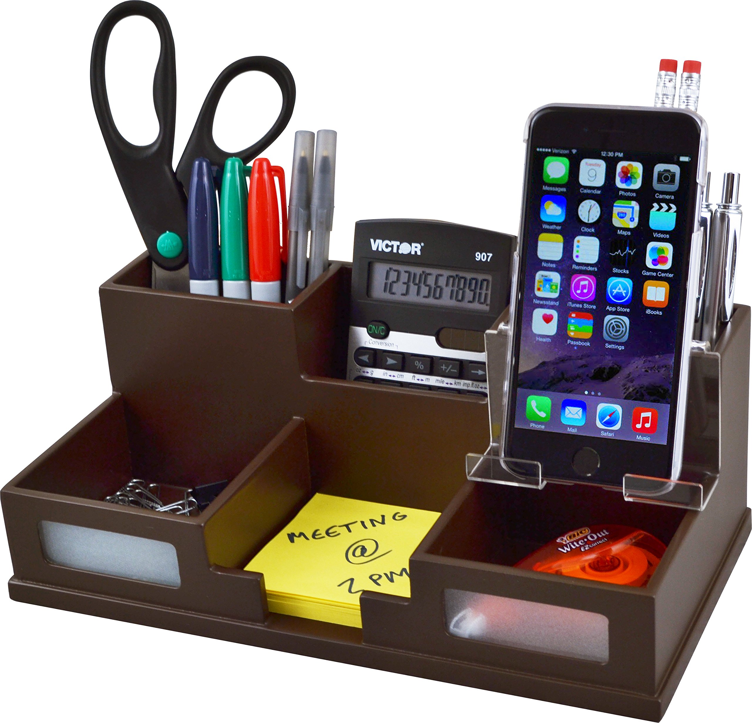 Victor Wood Desk Organizer with Smart Phone Holder, Mocha Brown, B9525