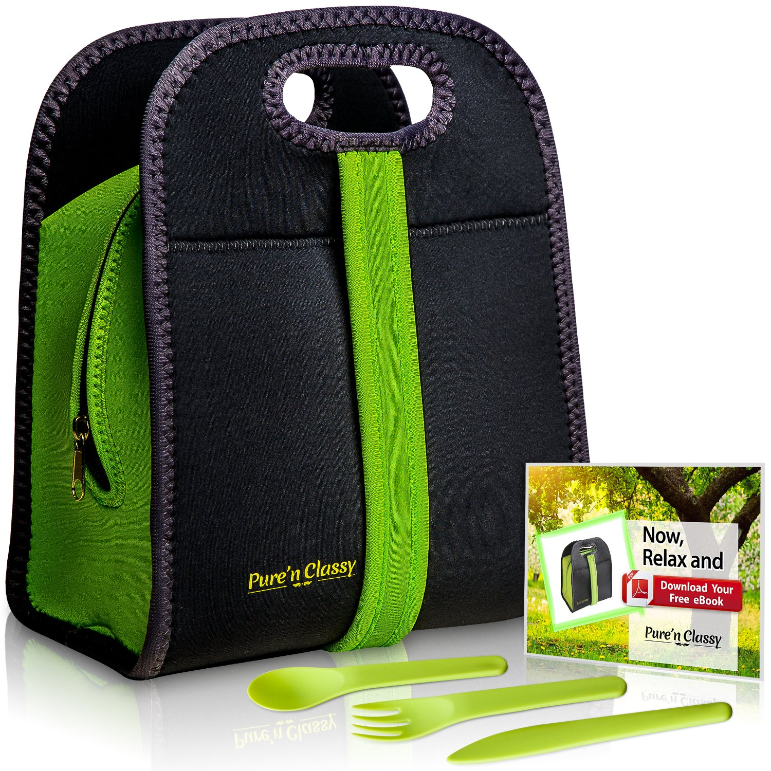 Neoprene Lunch Bag For Women, Kids, Men & Cutlery Set Bundle - Premium Eco Friendly Insulated Lunch Tote - Washable & Reusable Fashionable Lunch Bag - 100 of America's Favorite Sandwiches eBook Incl. by Pure'n Classy