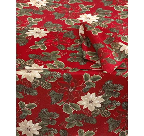 Delicieux Amazon.com: Poinsettia Pine Tablecloth 60x102 By Bardwil: Kitchen U0026 Dining
