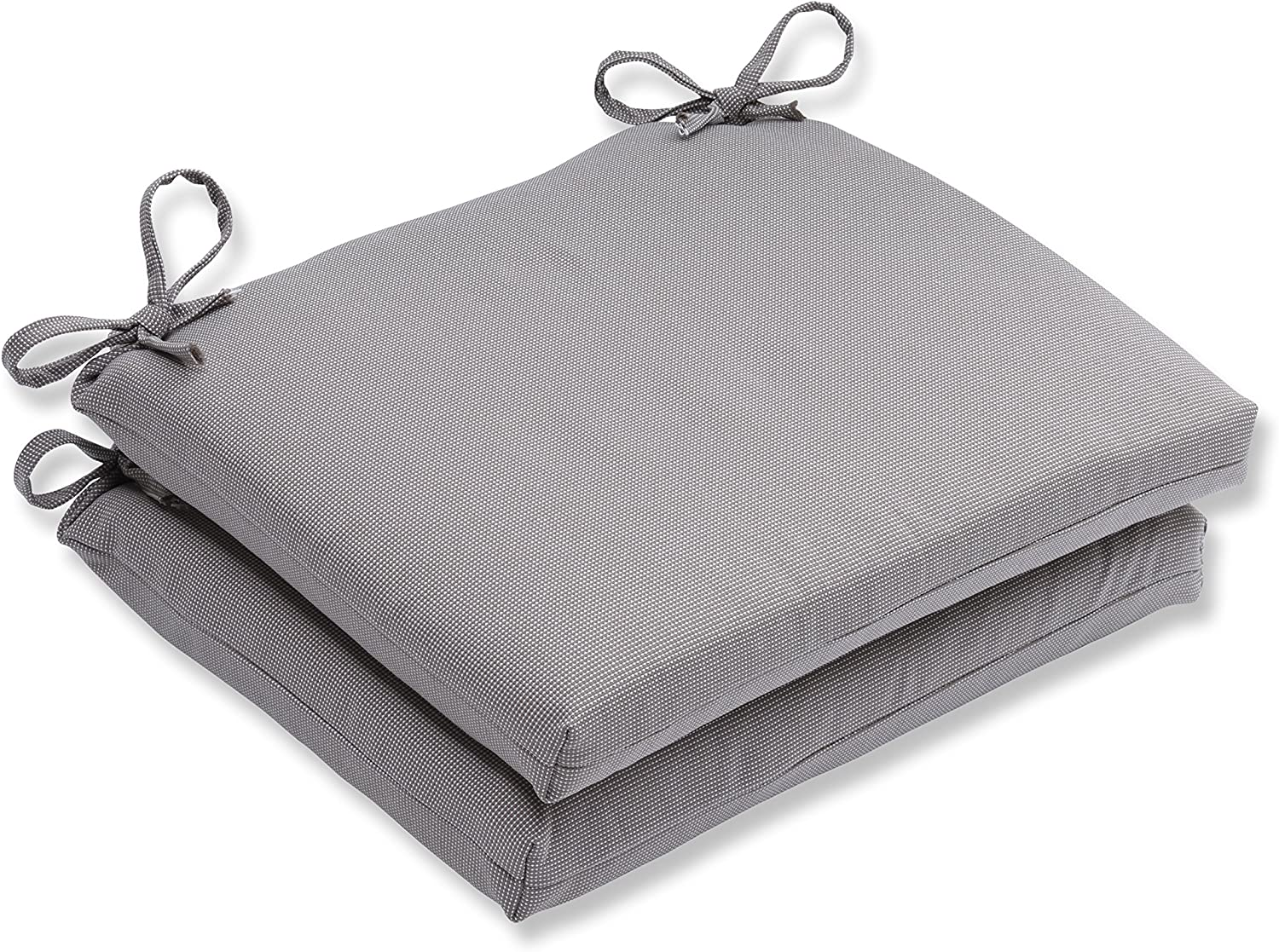 Pillow Perfect Outdoor/Indoor Tweed Squared Corners Seat Cushion (Set of 2), Gray