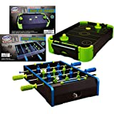 Matty's Toy Stop Deluxe Wooden Mini Tabletop NEON Air Hockey (Extra Pucks) & NEON Foosball (Soccer) (Extra Balls) Games Gift