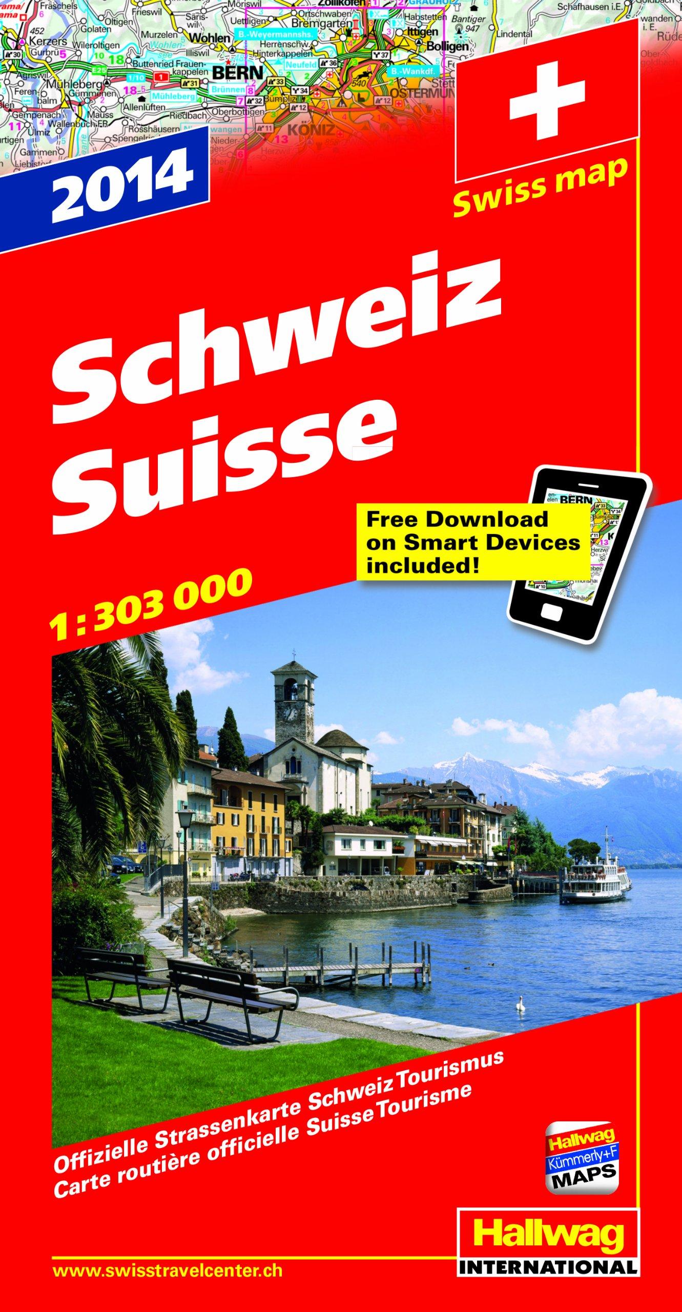 Schweiz 2014: Strassenkarte, 1:303 000 Offizielle Strassenkarte Schweiz Tourismus mit e-Distoguide via QR Code Free Download on Smart Devices included
