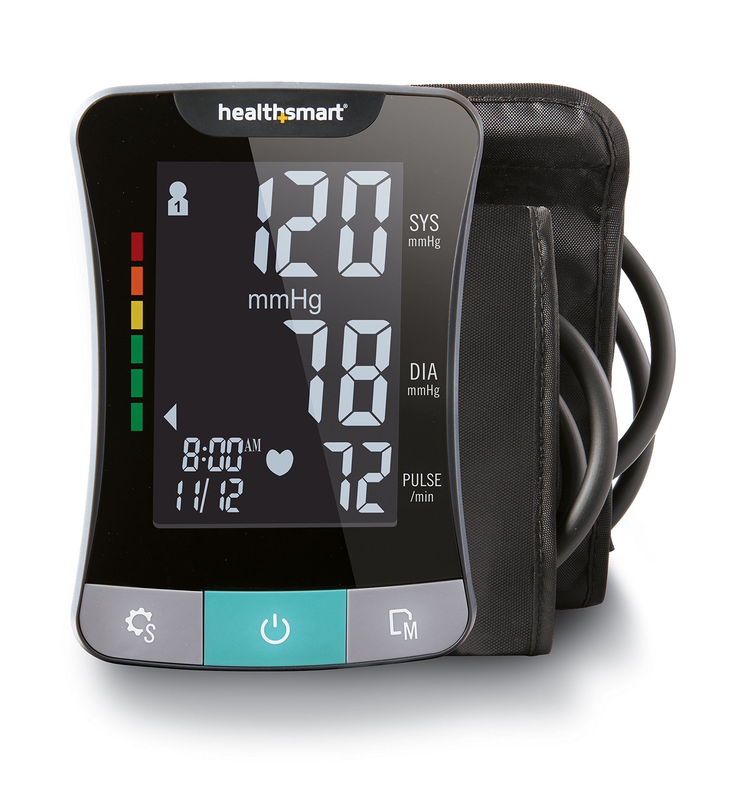 HealthSmart Premium Series Talking Upper Arm Blood Pressure Monitor, Clinically Accurate LCD Digital Blood Pressure Monitor, 2 Person Electronic Blood Pressure Monitor with Standard and Large Cuffs