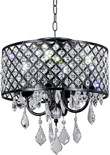 Diamond Life Antique Black 4-light Round Crystal Chandelier Pendant Ceiling Fixture