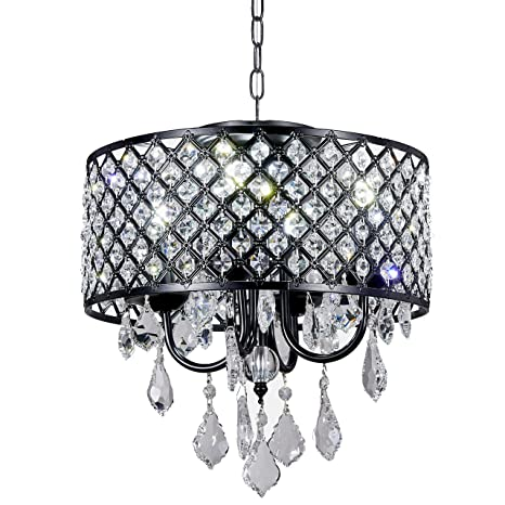 New galaxy lighting 4 light antique black round metal shade crystal new galaxy lighting 4 light antique black round metal shade crystal chandelier pendant hanging ceiling aloadofball Images