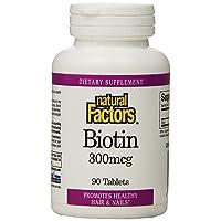 Natural Factors - Biotin 300mcg, Promotes Healthy Hair & Nails, 90 Vegetarian Capsules