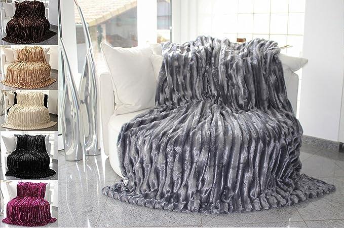 Manta de ambos lados en imitación de piel, color gris. Calidad fino, suave, exclusivo, lujoso. Manta suave y comfortable. 150 x 200 cm.: Amazon.es: Hogar