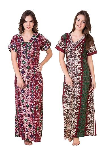 Masha Women's 2 Pcs set cotton Nighty NT2PC-177-178 Nightdresses & Nightshirts at amazon