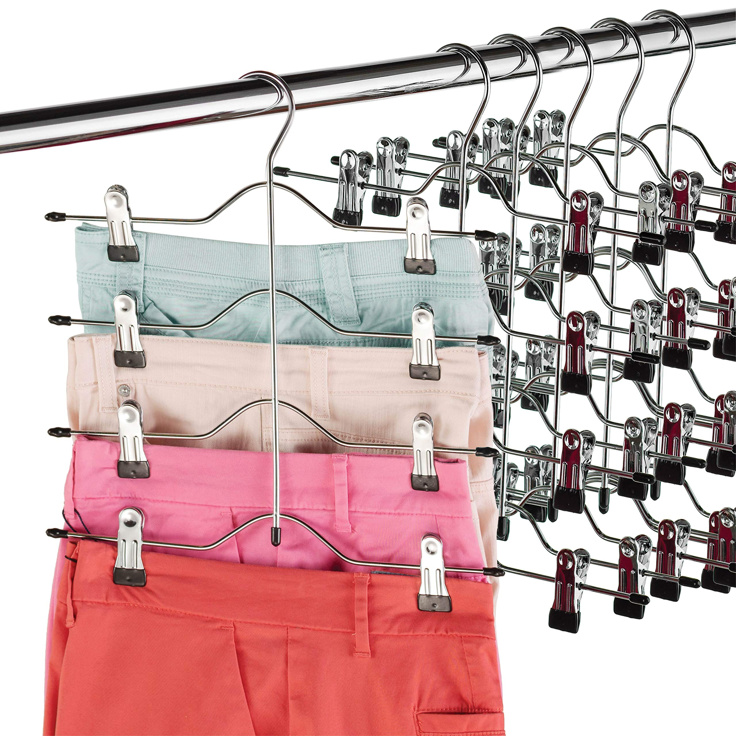 Zober Space Saving 4 Tier Skirt Hanger with Adjustable Clips (6 Pack) 4-on-1 Hanger, GAIN 50% More Space, Reliable Non Slip Grip, Durable Metal Pants Hanger Great for Slack, Trouser, Jeans, Towels Etc by ZOBER