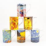FINE BONE CHINA SET OF 6 ARTIST MUGS FREE NEXT DAY DELIVERY IN UK