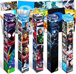 Marvel Comics DC Comics Superhero Wall Poster Bundle Set - 10 Pc DC Comics Marvel Comics Mystery Posters Featuring Marvel Avengers, Justice League, and More (Superhero Room Decorations)