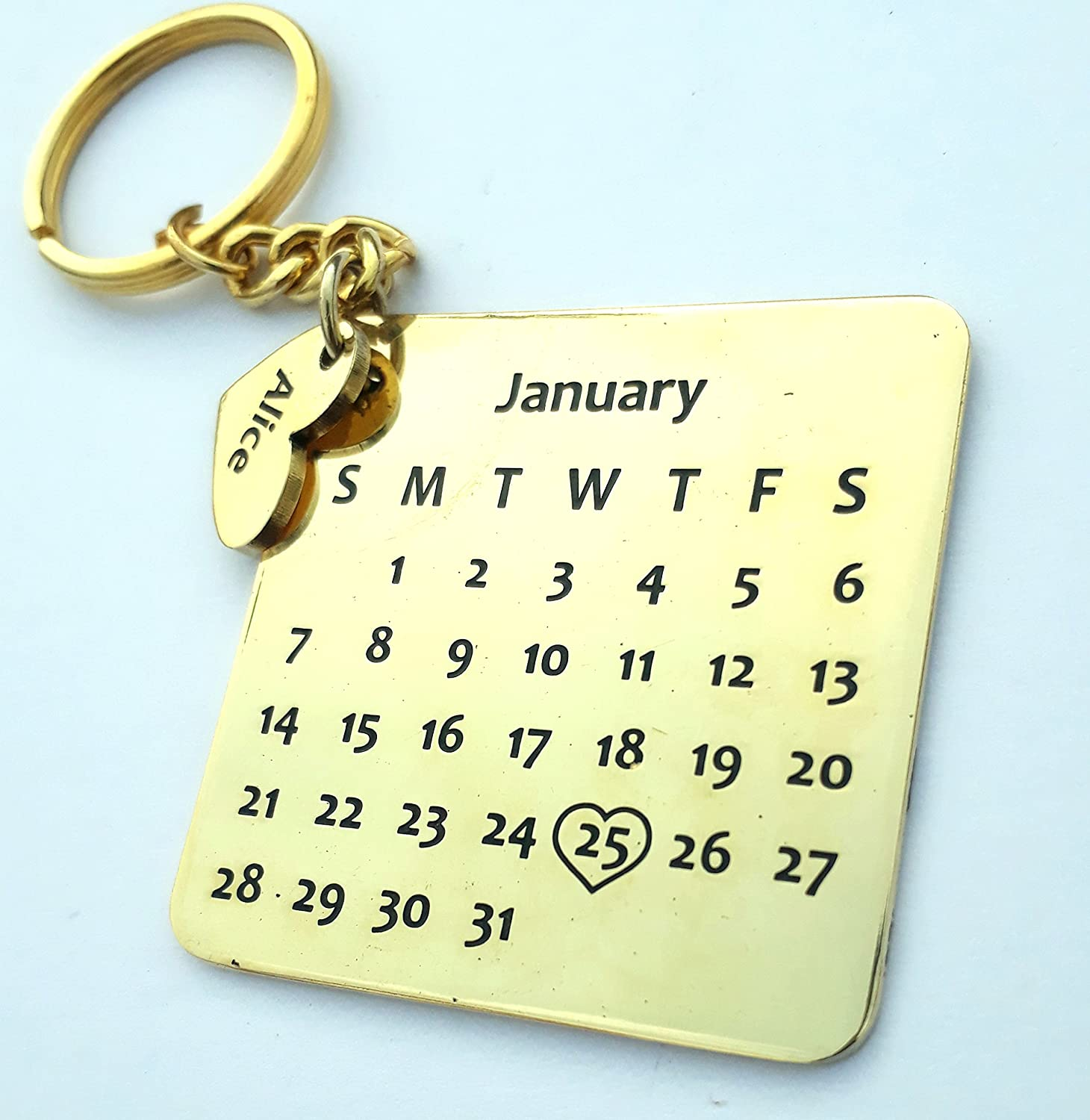 bab92f98c6c38 Smart Galleria Birthday Gift Personalized Calendar Key Chain with Name and  D.O.B on Metal