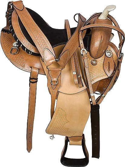 16 WESTERN PLEASURE TRAIL GAITED ENDURANCE BARREL HORSE LEATHER SADDLE TACK