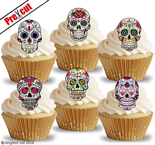 Sugar Skull Cupcake Toppers Cake Decorations Pack Of 12
