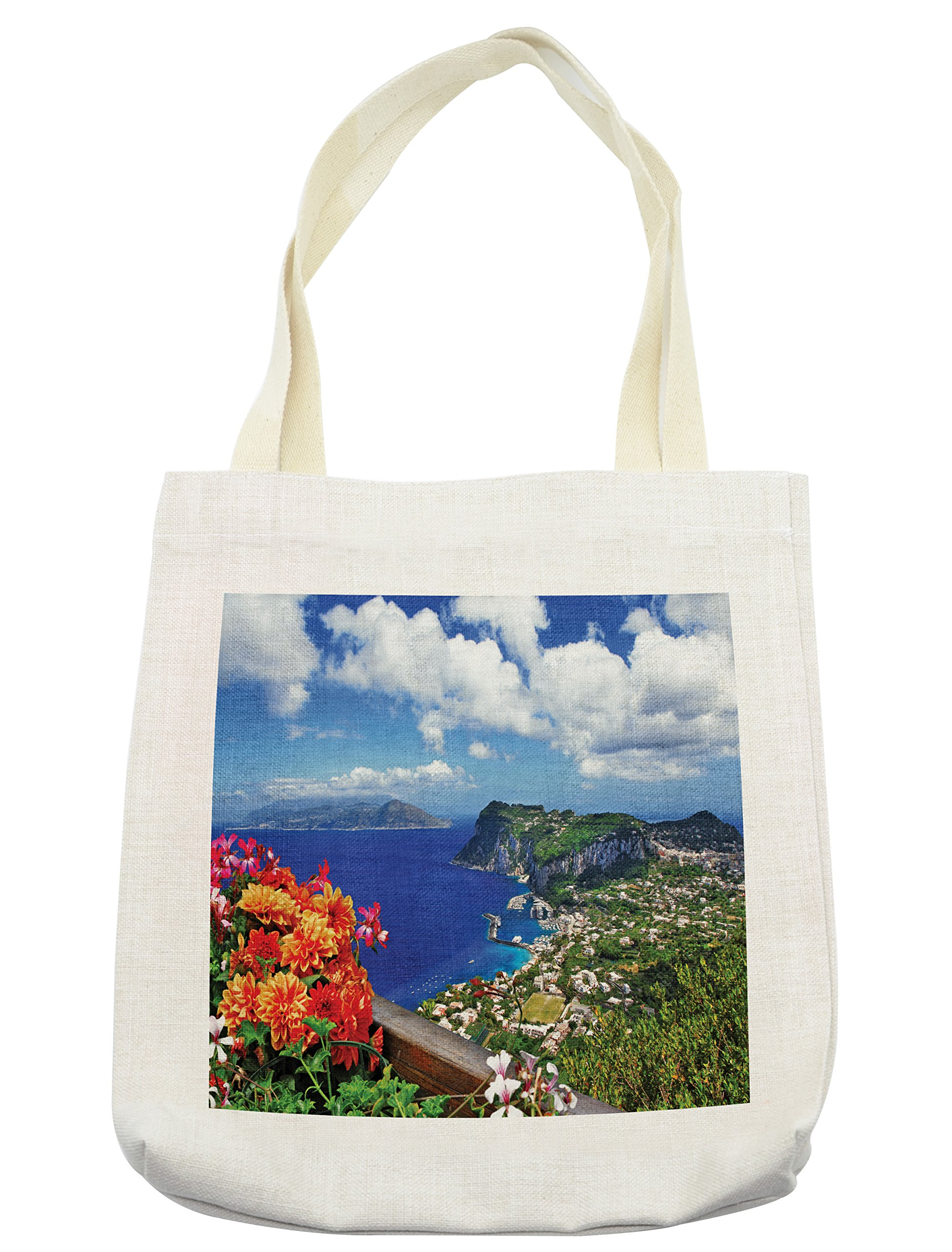 670fecf6b949 Lunarable Island Tote Bag, Scenic Capri Island, Italy Mountain Houses  Flowers View from Balcony Landmark, Cloth Linen Reusable Bag for Shopping  ...