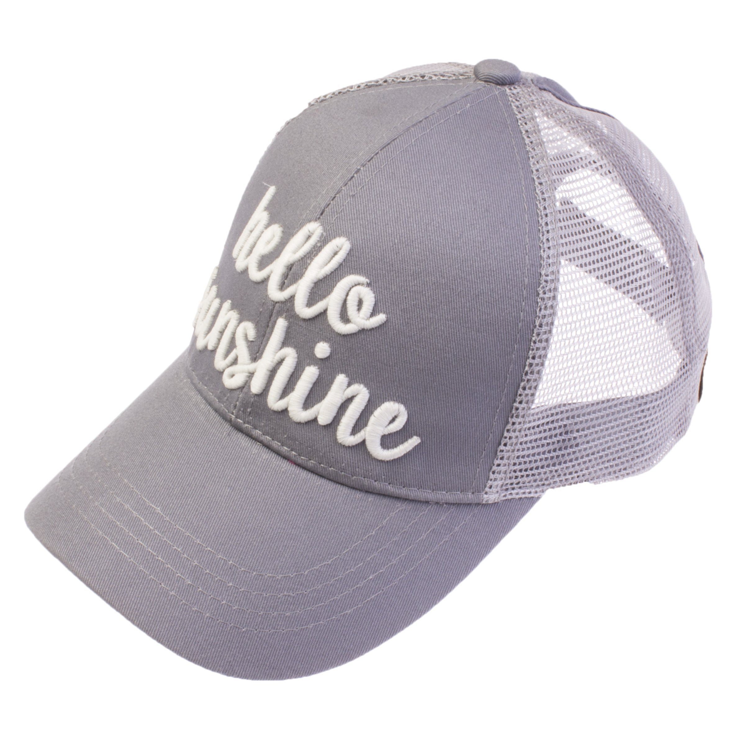 C.C Exclusives Pony Cap with 3D Embroidered Color Changing Trucker Cap (BT-10) (Grey, Hello Sunshine)