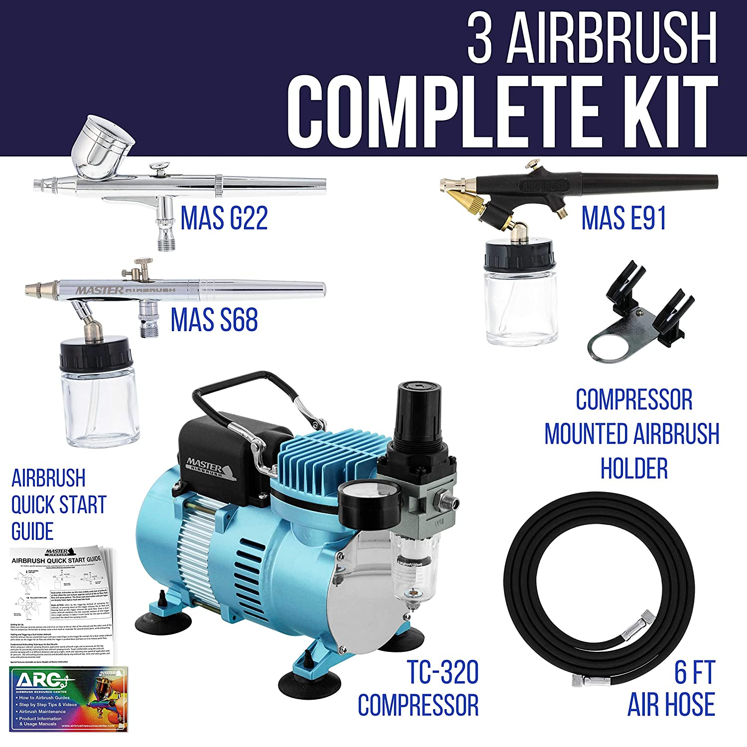 0.3 mm Gravity /& 0.35 How To Airbrush Learning Guide 0.8 mm Siphon Feed Master Airbrush Cool Runner II Dual Fan Air Compressor Professional Airbrushing System Kit with 3 Airbrush Sets Hose Holder
