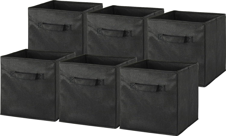 6 Pack - SimpleHouseware Foldable Cube Storage Bin, Black