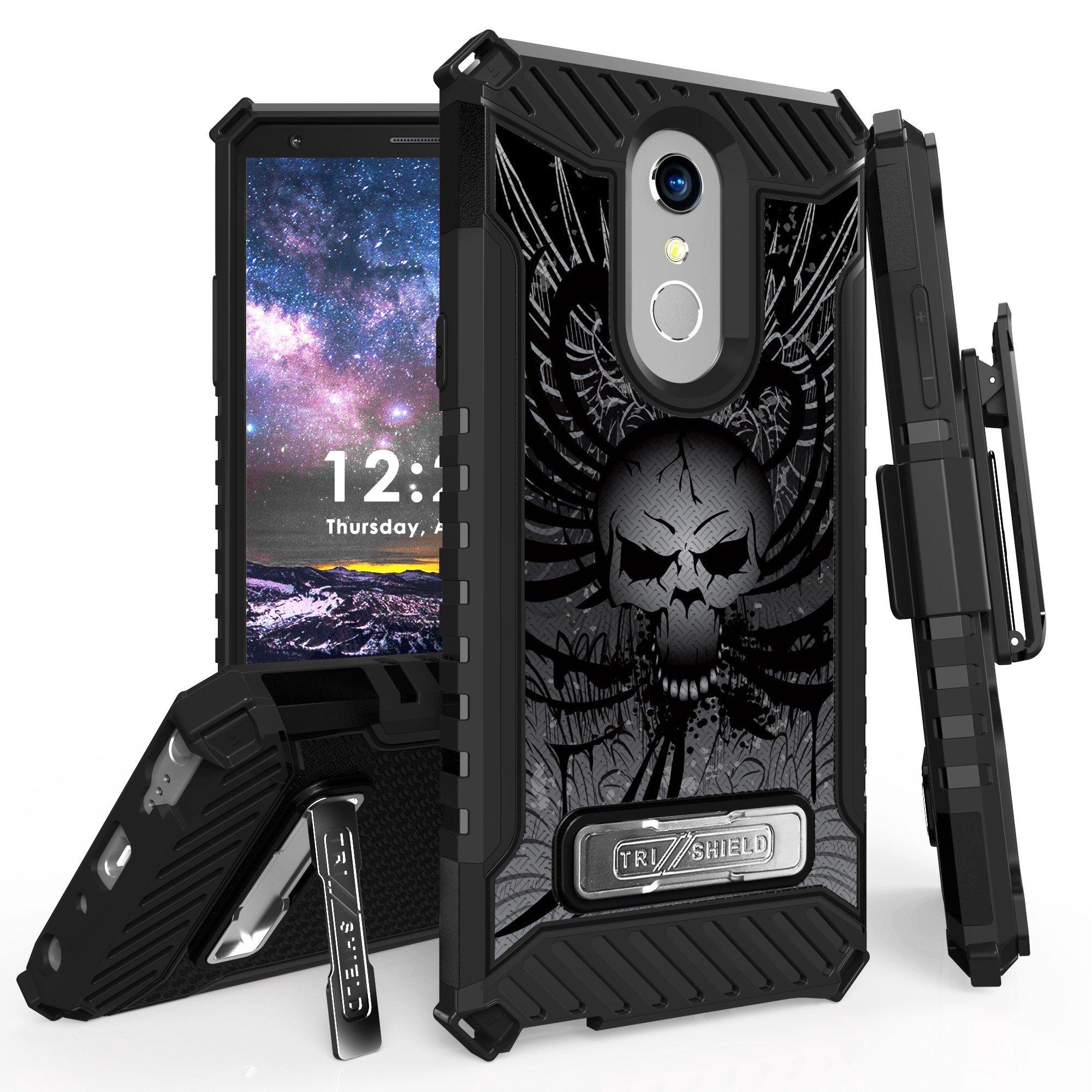 for 6.2'' LG Stylo 4 Case, LG Q Stylus Case Holster Phone Case 12ft Military Grade Drop Tested Belt Clip Kick stand Hybrid Armor Cover (Skull)