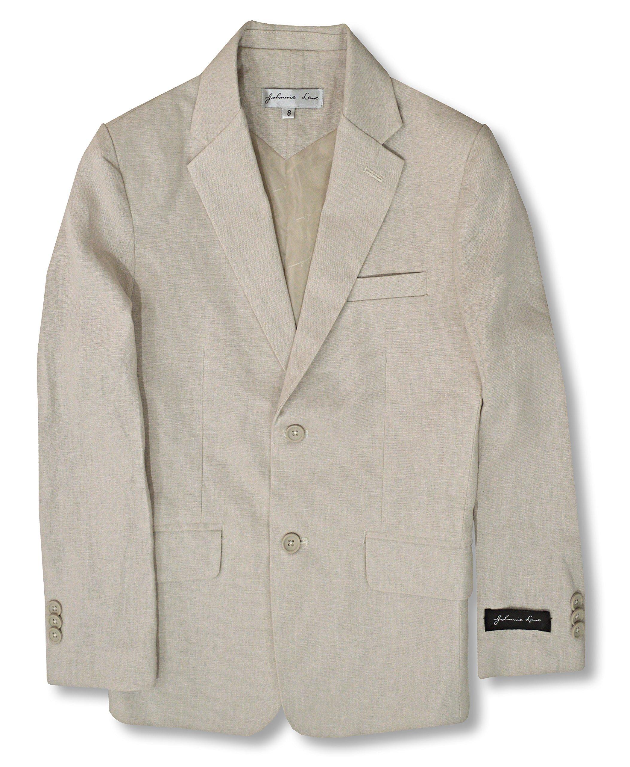 Boys' Cotton/Linen Blend Blazer Jacket #JL38 (7, Natural)