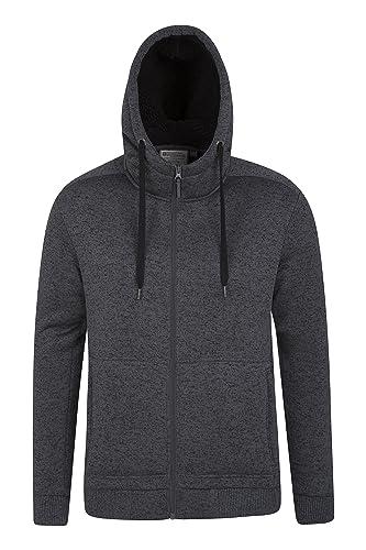 Mountain Warehouse Nevis Mens Fur Lined Hoodie - Soft Fleece Sweatshirt, Warm, Comfortable, Adjustable Hood & Front Pockets Zip Up Hoodie – Great For Walking & Jogging
