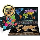 mappa mondo da grattare - Un planisfero in formato poster extra large + una cartina d'Europa bonus da grattare. Include un tubo regalo personalizzato e 2 coloratissime mappe dettagliate