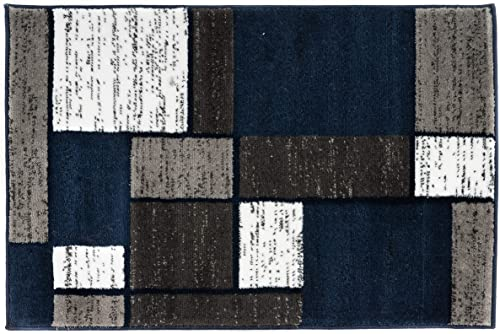 Rugshop Contemporary Modern Boxes Area Rug 2 x 3 Navy