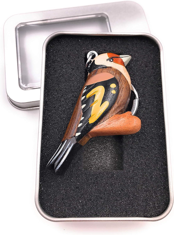 Onwomania Porte-cl/és Oiseau en Bois Hibou Perruche Hibou sur Pendentif Oiseau de Race Perruche Race dans Une bo/îte Cadeau