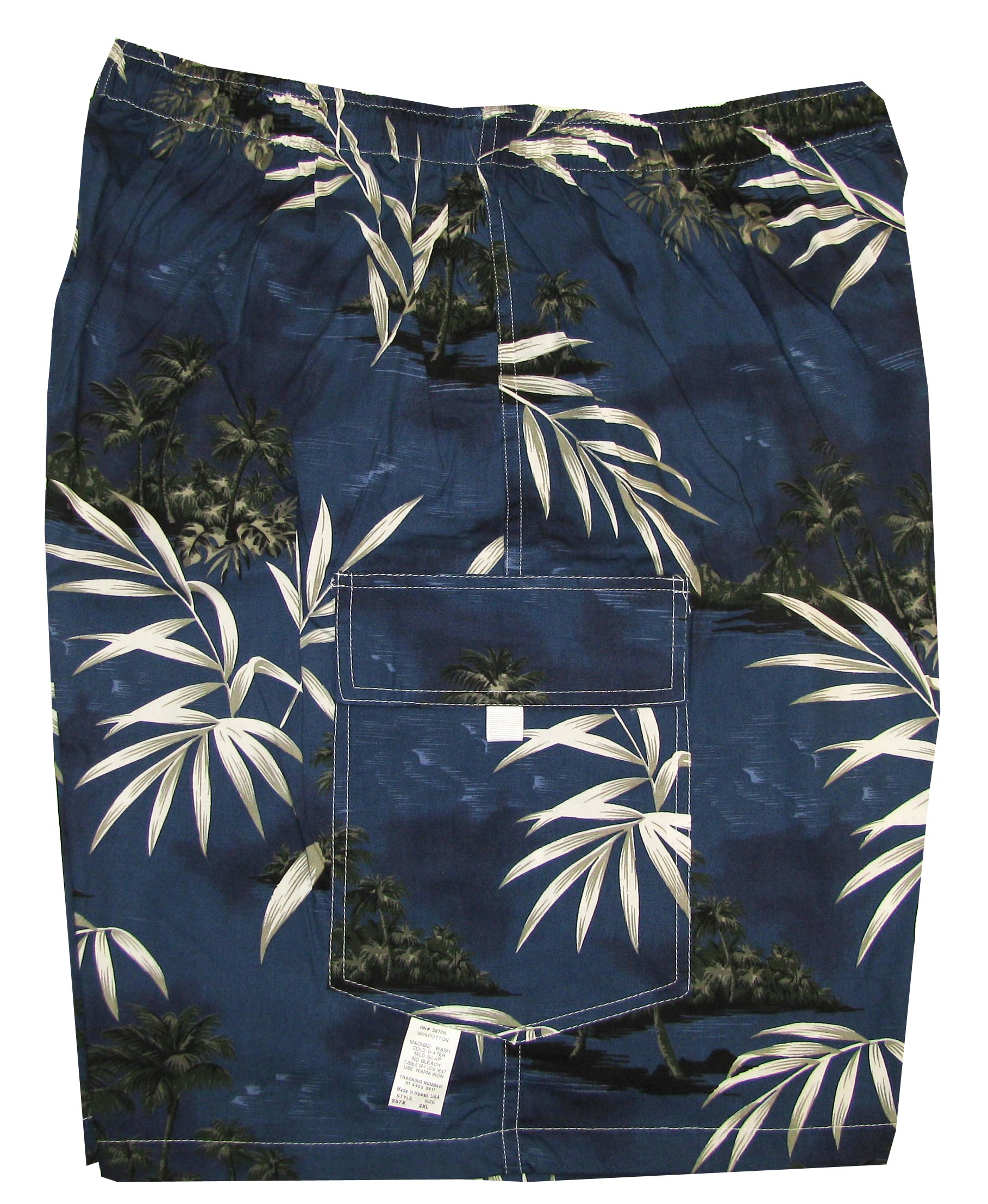 Men's Cargo Shorts - Bamboo Island Elastic Waistband Inside Drawcord Flap Pocket Cotton Shorts in Navy Blue - S