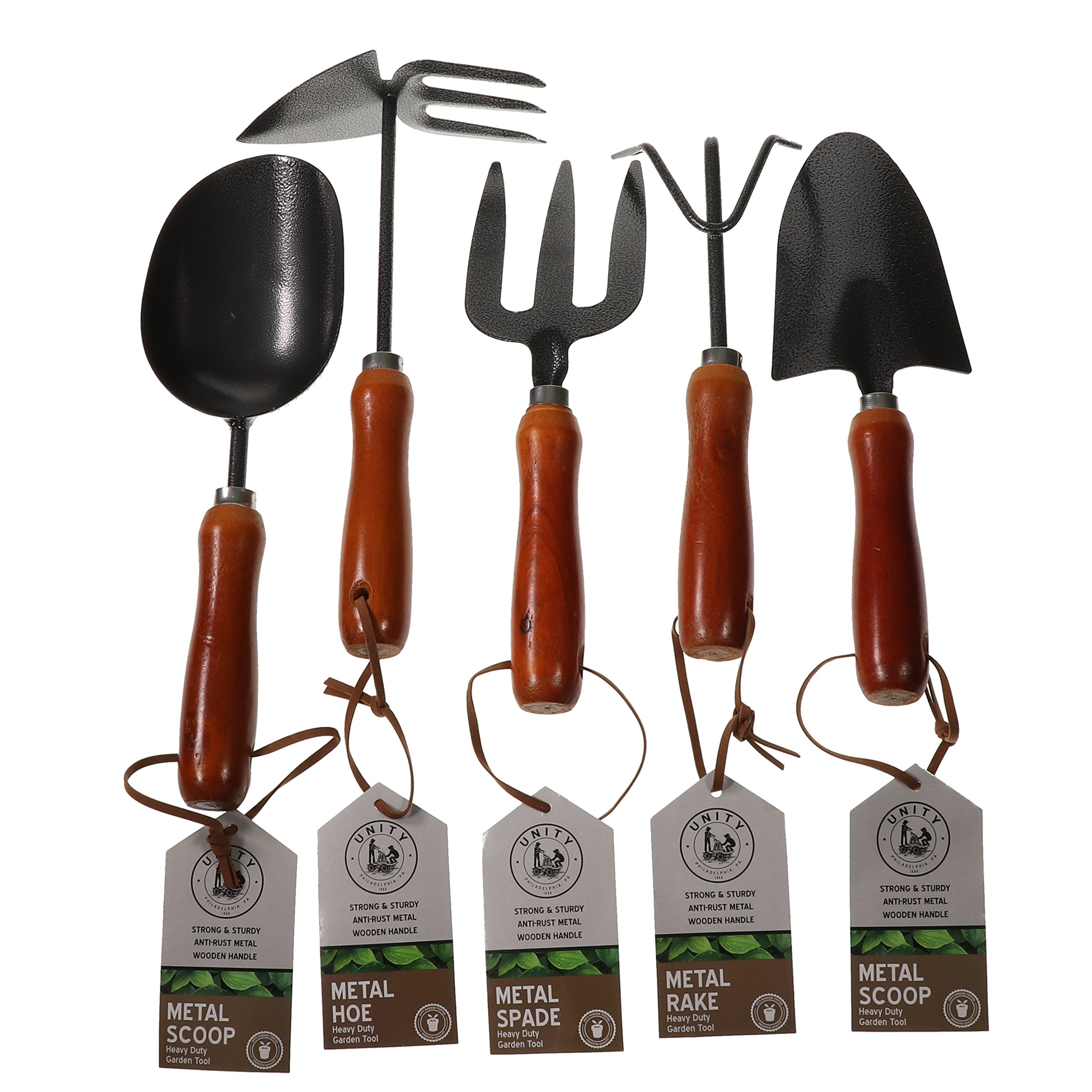 Unity 5-Piece Premium Medium Duty Garden Tool Set - Ergonomic Wooden Handles - Anti-Rust - Strong And Durable - Garden Tested by Unity-Frankford