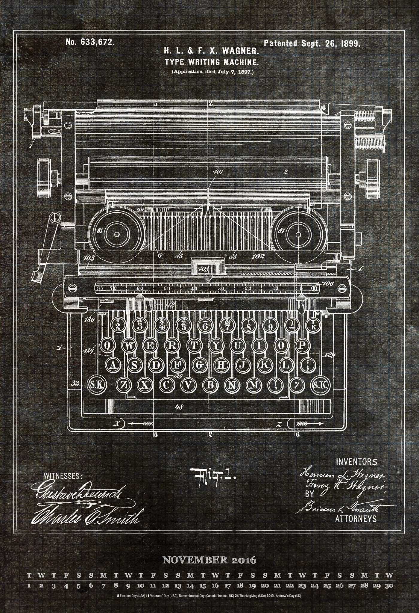 Vintage Patent Blueprints 2016 Poster Calendar: Art Remedy LLC ...