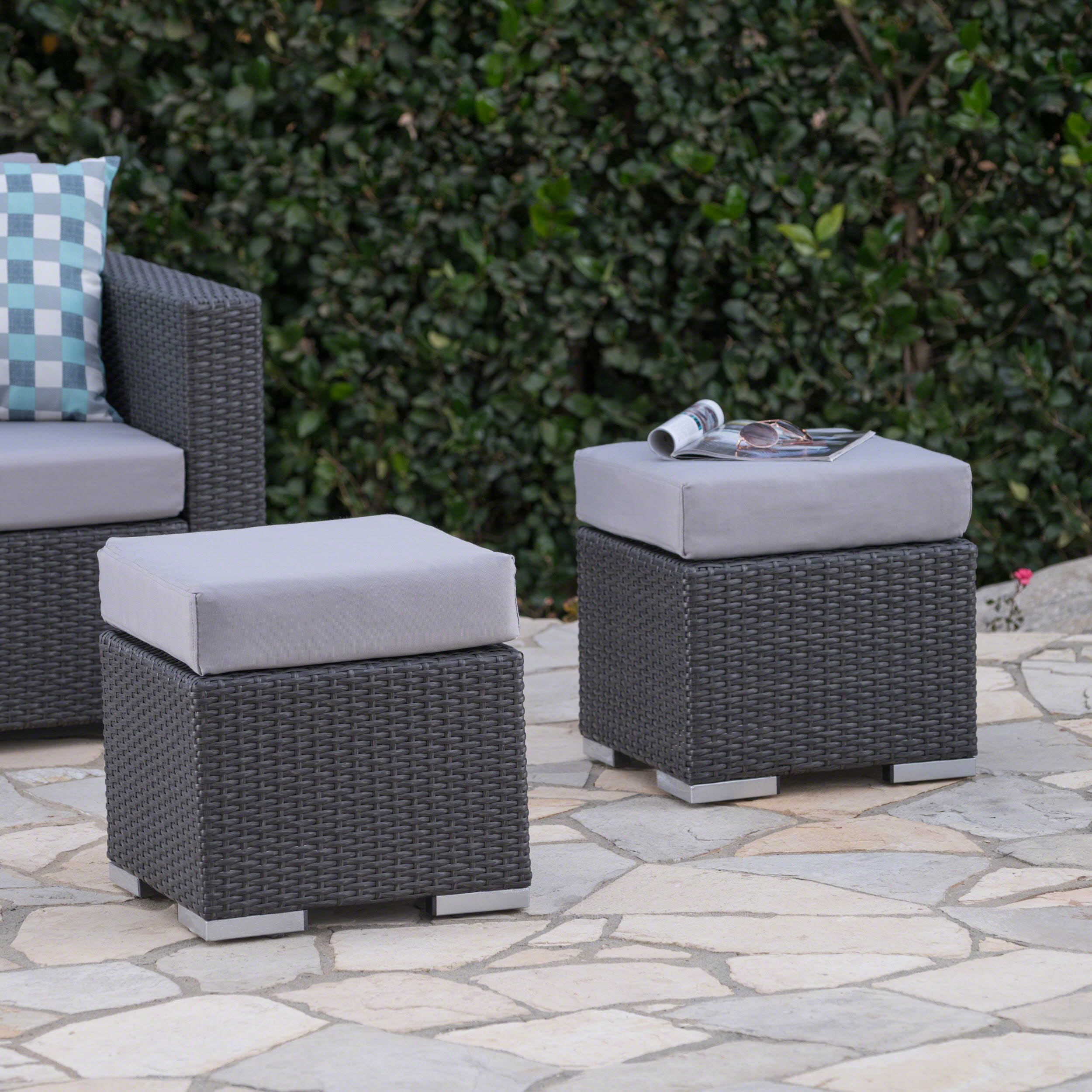 Great Deal Furniture Malibu Outdoor 16 Inch Grey Wicker Ottoman Seat with Silver Water Resistant Cushion (Set of 2)