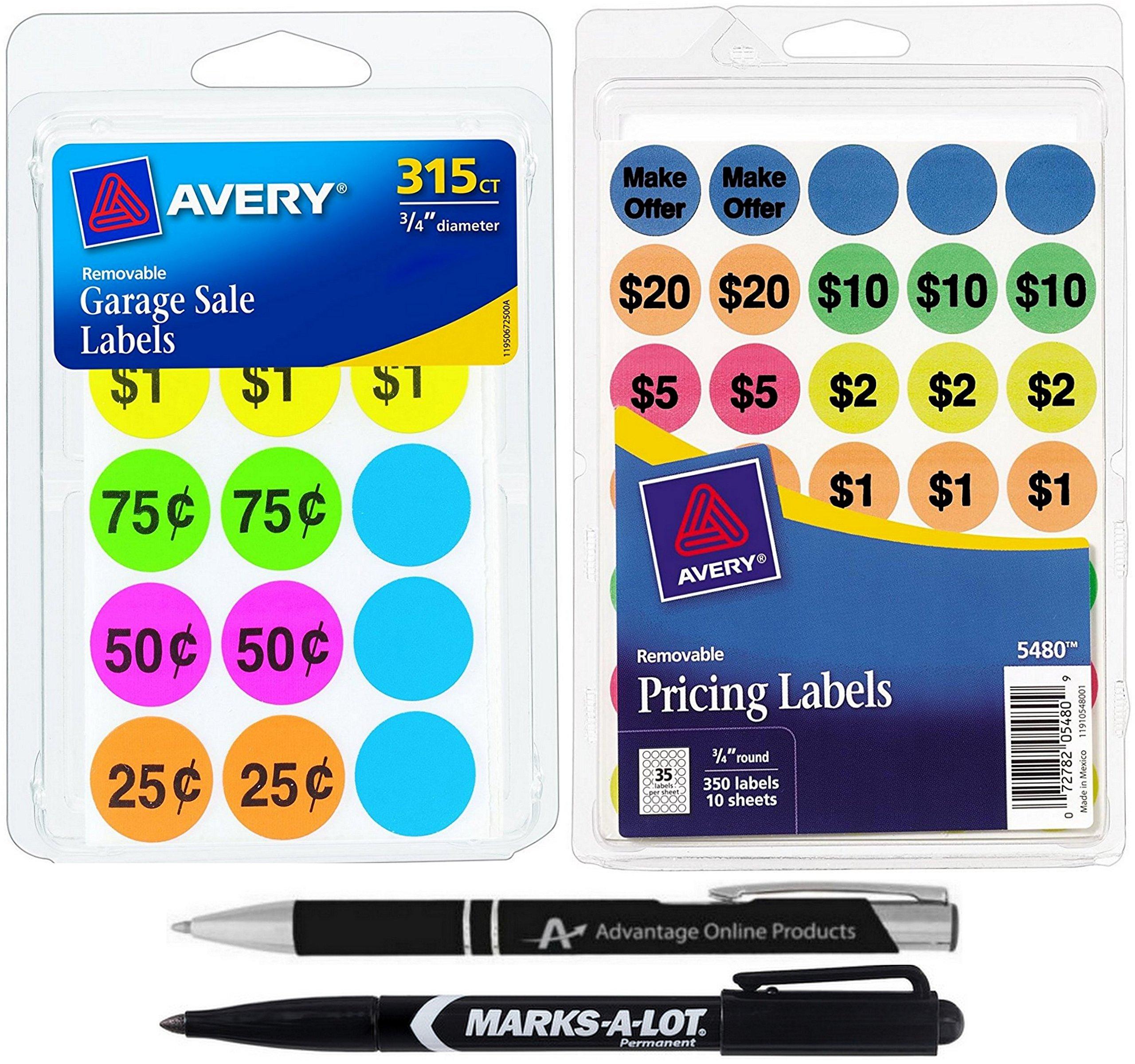 Avery Garage Sale Bundle, Includes 665 Total Pricing Labels, Black Marker for Manual Pricing a Custom AdvantageOP Retractable Ballpoint Pen