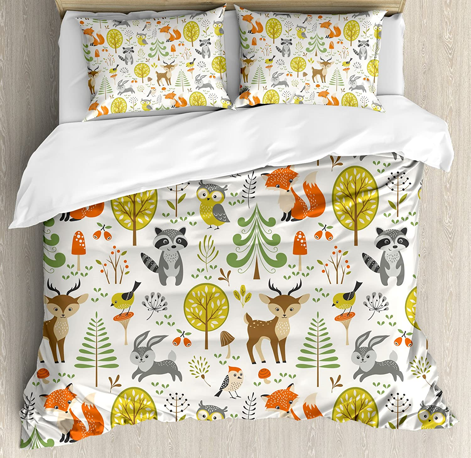 Mod Mushrooms Pillow Sham Illustrated Bugs Entomology Cotton Sateen Pillow Sham Bedding by Spoonflower Cute Forest by adehoidar