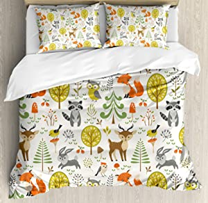 Kids Queen Size Duvet Cover Set by Ambesonne, Woodland Forest Animals Trees Birds Owls Fox Bunny Deer Raccoon Mushroom Home and, Decorative 3 Piece Bedding Set with 2 Pillow Shams