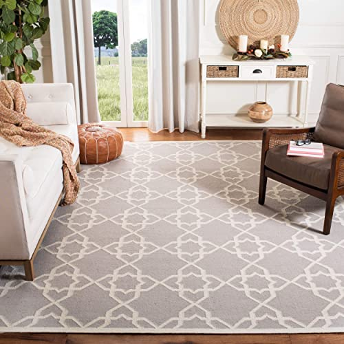 Safavieh Dhurries Collection DHU548G Hand Woven Grey and Ivory Premium Wool Area Rug 8' x 10'