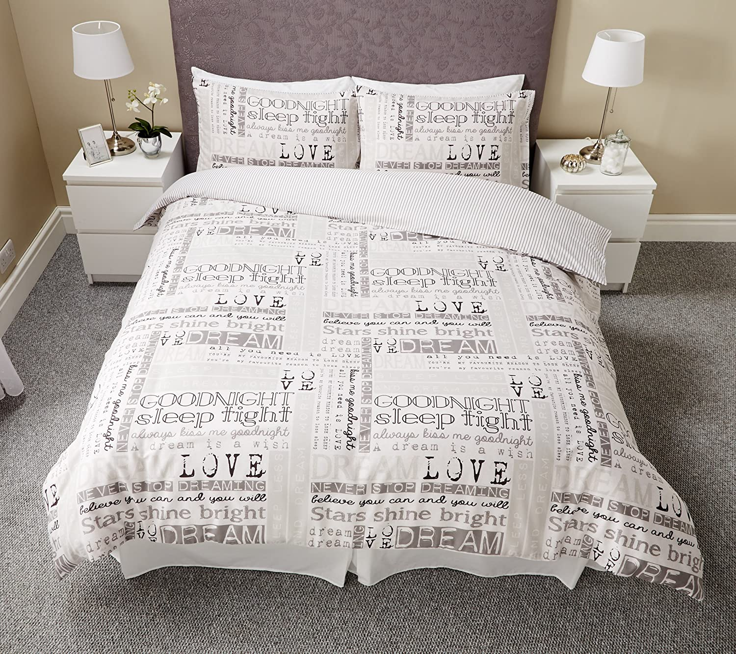 DREAM DUVET COVER WITH PILLOW CASE QUILT COVER BEDDING SET (DOUBLE) (king) aaa textile
