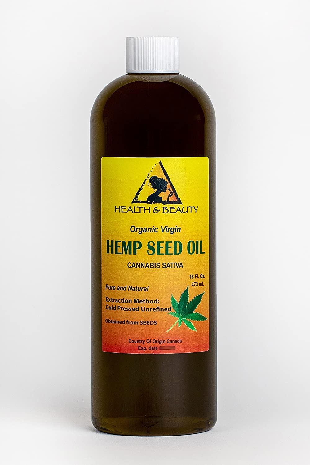 Hemp Seed Oil Unrefined Organic Virgin Carrier Cold Pressed Pure 16 oz, 473 ml H&B OILS CENTER Co.