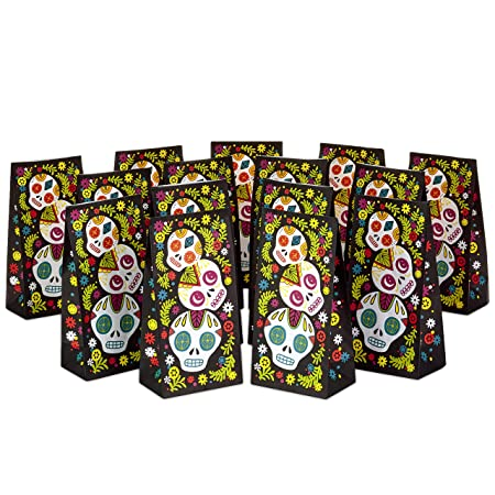 Halloween Party Packages.Hallmark Day Of The Dead Party Favor And Wrapped Treat Bags 15 Ct For Halloween Daƒa De Los Muertos Class Parties Care Packages And More Amazon In Electronics