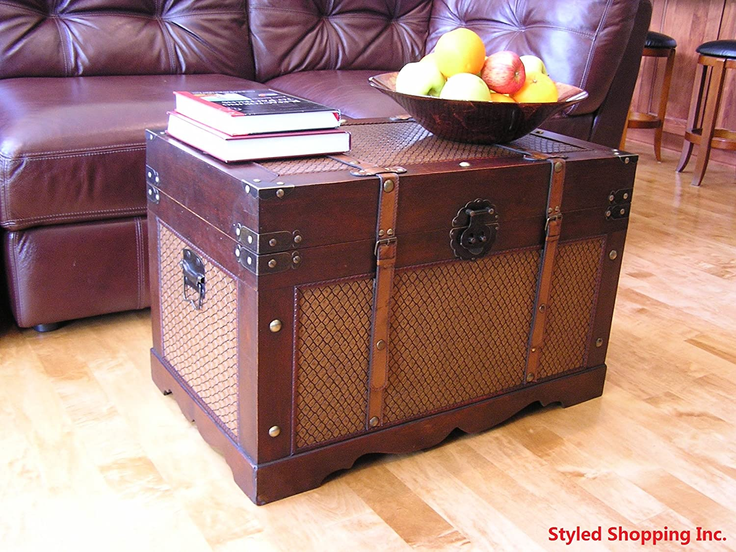 Amazon.com: Boston Wood Chest Wooden Steamer Trunk   Large Trunk: Kitchen U0026  Dining