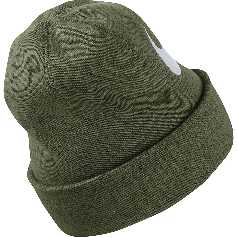 2b211f3215b Nike Men s Swoosh Cuffed Beanie Cap Olive Canvas Pure Platinum – One size