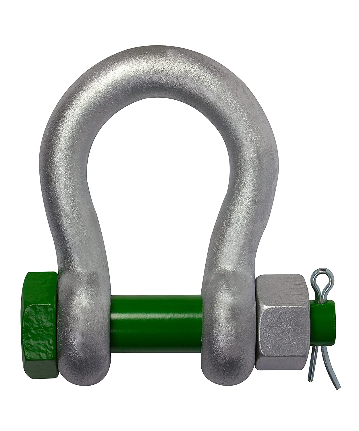 6.5 tonnes Galvanised Steel Green Screw Pin Safety D Shackle Free P+P!