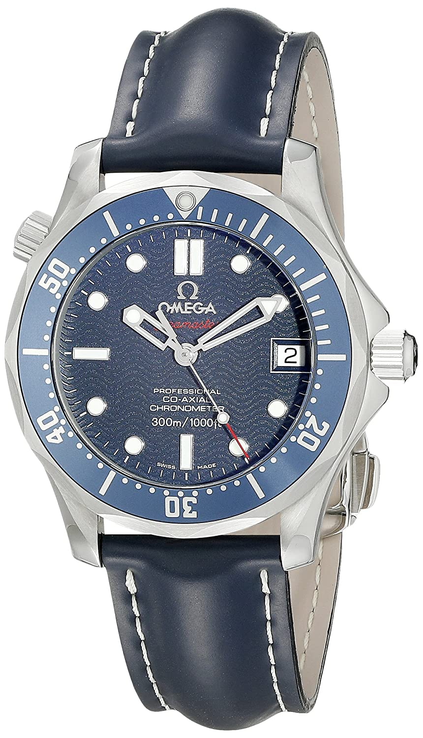 Omega Men s 29228091 Seamaster Stainless Steel Automatic Self-Wind with Blue Leather Band