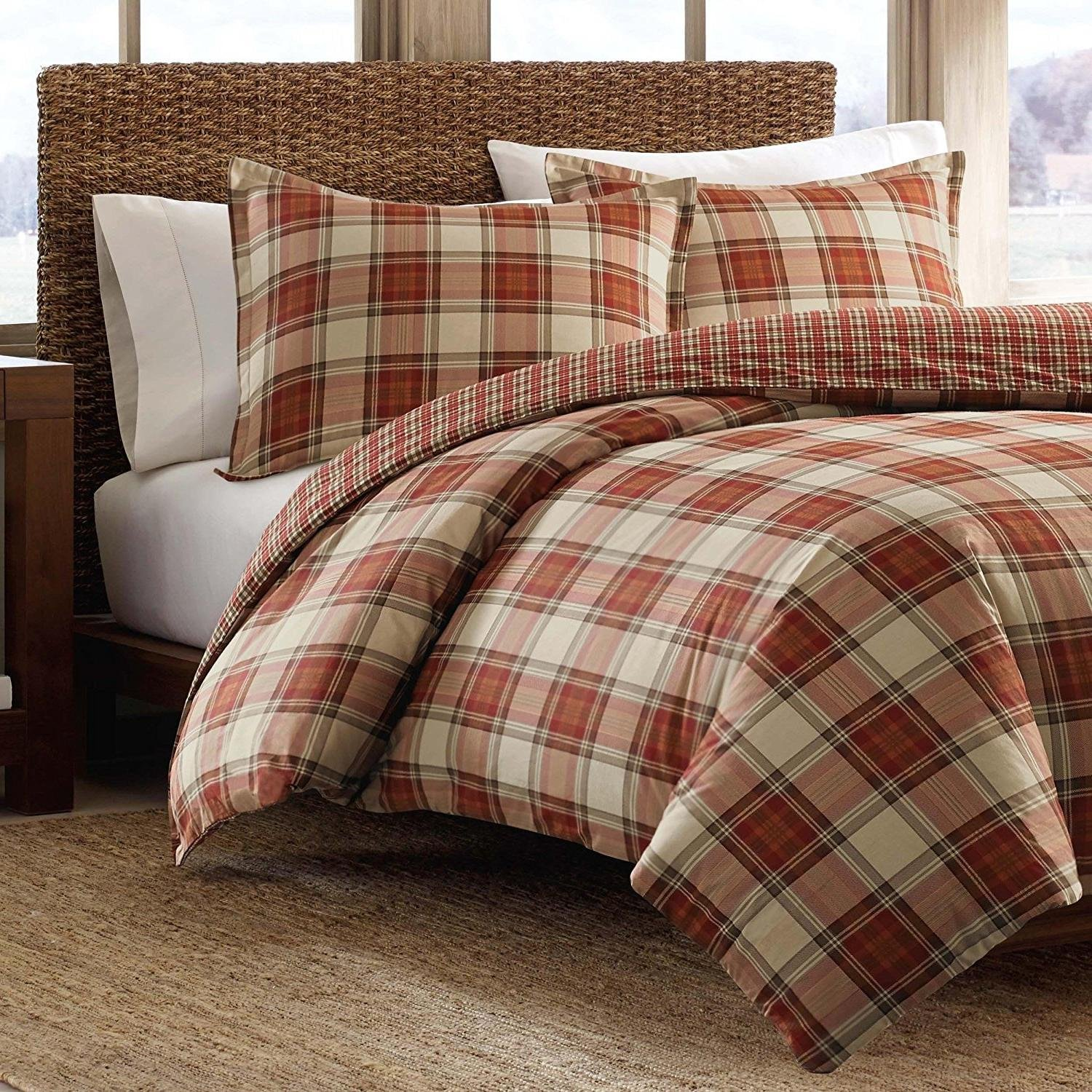 3pc Red Plaid Full Queen Size Duvet Cover Set, Cabin Themed Lodge Country Checkered Bedding Squared Tartan Madras Rustic Lumberjack Pattern Cottage Checked Woods, Cotton