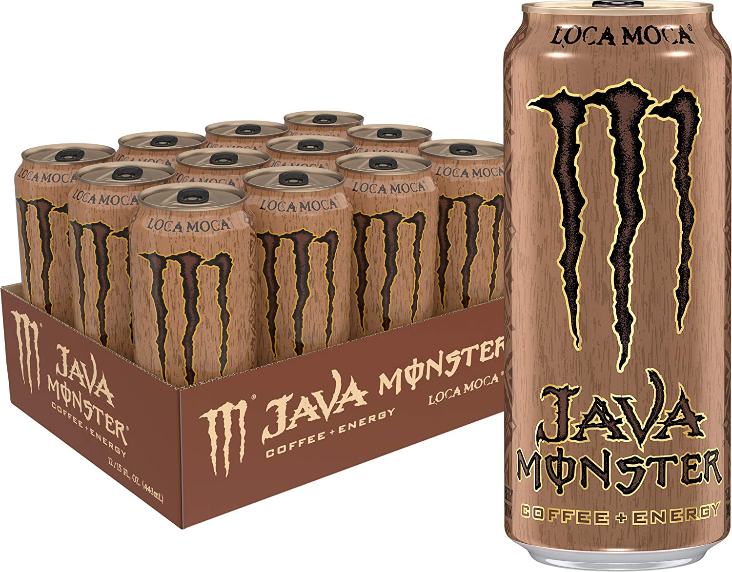 Java Monster Loca Moca, Coffee + Energy Drink, 15 Ounce (Pack of 12)