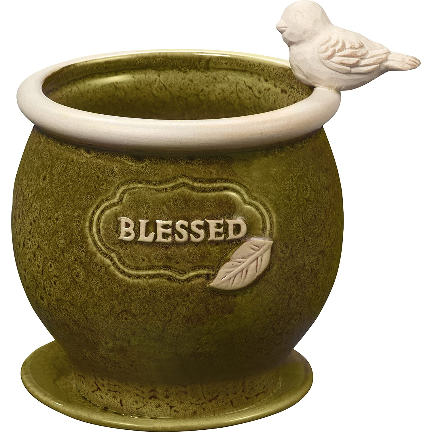 Garden Gifts by Precious Moments Blessed Olive Green Ceramic Garden Or Deck Planter Pot 5-Inch Tall By 4-Inch Diameter 185015