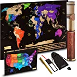 "Scratch off World Map + Scratch off USA Map Travel Poster | US States And World Country Flags Detailed In Large 30"" x 17"" Size Scratchable Tracker Poster 