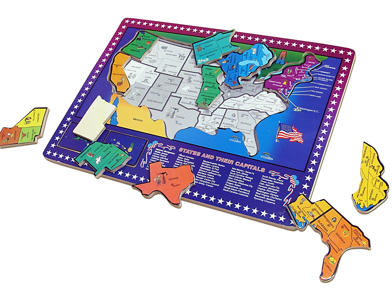Buy Dazzling Toys Educational Wooden United States Map ... on 50 states magnets, 50 states stickers, 50 states colors, 50 states homework, 50 states vocabulary, 50 states clip art, 50 states coloring, 50 states and capitals puzzle, 50 states math, 50 states printable,