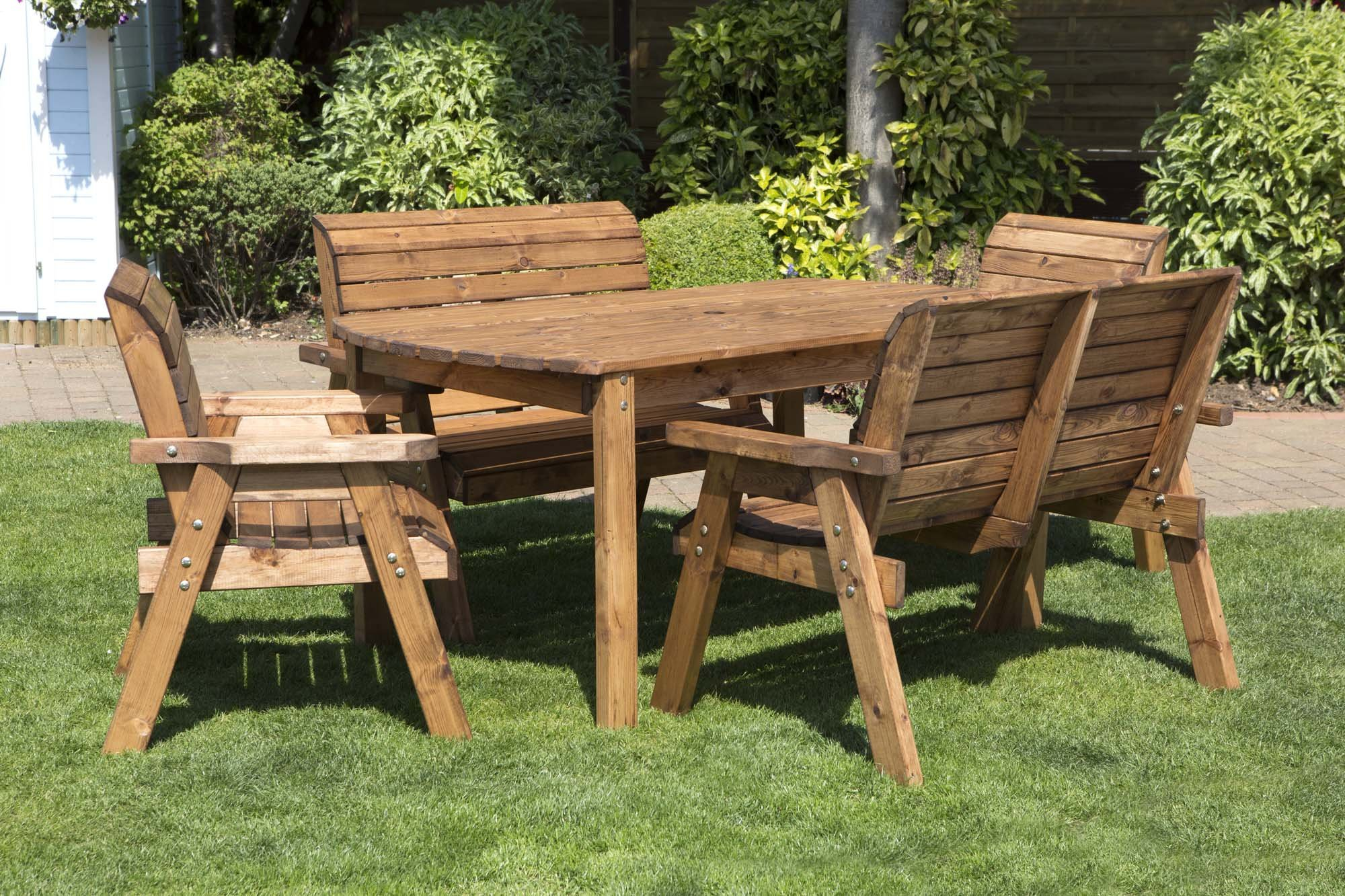 Samuel ALEXANDER Hand Made 9 Seater Chunky Rustic Wooden Garden Furniture  Table and Chairs Set